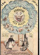 """Brest 1908 Menu Original (dessin) Honneur Aux Bleus """" E.S.M """" (Ecole Spéciale Militaire ? ) - Menus"""