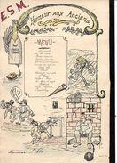 """Brest 1908 Menu Original (dessin) Honneur Aux Anciens """" E.S.M """" (Ecole Spéciale Militaire ?) - Menus"""