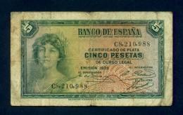 Banconota Spagna 5 Pesetas 1936 - [ 3] 1936-1975 : Regime Di Franco