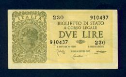 Banconota 2 Lire Italia Laureata 23-11-1944 SPL - [ 1] …-1946 : Koninkrijk
