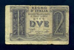 Banconota 2 Lire Italia Impero 14-11-1939 BB - [ 1] …-1946 : Koninkrijk