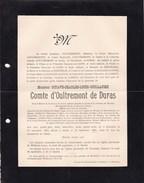 WILDEREN DURAS Octave Comte D'OULTREMONT De DURAS  1815-1898 Burgemeester Famille De BAILLET-LATOUR Doodsbrief - Avvisi Di Necrologio