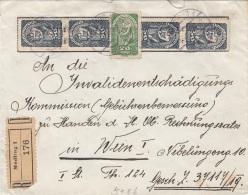 ÖSTERREICH R-Brief 1922? - 20 + 4x50 Heller Auf Brief Gel.v.Mödling N.Wien - Briefe U. Dokumente