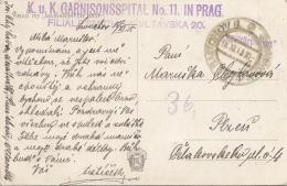 "BÖHMEN 1915 - Stempel K.u.K.GARNISONSSPITAL Nr.11 In PRAG Auf Ak Künstlerkarte ""MARIANSKYCH BAST"" Gel.v.PRAG N. PLZEN - Brieven En Documenten"