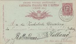 ITALIEN 1889 - Ganzsache Auf Pk Gel.v.VENEDIG N. ROTTERDAM - 1878-00 Humbert I.