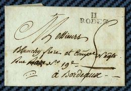 Aveyron - Rodez Pour Bordeaux (Gironde). LAC De 1804 - Marcophilie (Lettres)