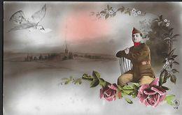 ! - Militaire Assis Sur Une Chaise - Avec Timbre COB 193A Type II - Cartes Postales