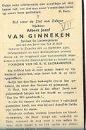 WO2/ KAMP A5 / DOODSPRENTJE ° KAPELLEN 1916 KRIJGSGEVANGEN + OMGEKOMEN ISENBUTTEL 1941 ALBERT VAN GINNEKEN - Devotion Images