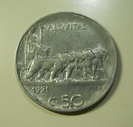 Italy 50 Centesimi 1921 Edge Reeded - 1900-1946 : Victor Emmanuel III & Umberto II