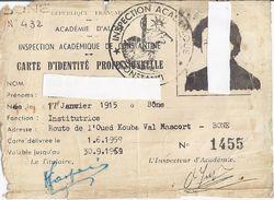 CARTE D'IDENTITE PROFESSIONNELLE-1959- INSPECTION ACADEMIQUE DE CONSTANTINE-ACADEMIE D'ALGER N°1455 - Unclassified