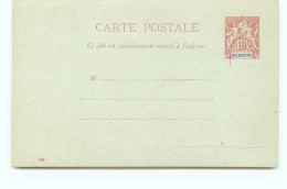 Entier  Carte-postale   Groupe 10 Cent Carmin Datée Neuve - Réunion (1852-1975)