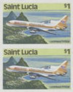 ST.LUCIA 1984 Airplane $1 IMPERF.PAIR USA-related [non Dentelé,Geschnitten] - St.Lucia (1979-...)