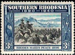 Rhodes Makes Peace, 1896, Southern Rhodesia Stamp SC#60 Mint - Rhodésie Du Sud (...-1964)