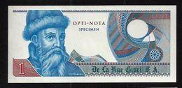 """Echantillon DE LA RUE """"Gutenberg - Type B"""" Testnote, Mit Intaglio, Eins. Druck, RRR, UNC, SPECIMEN - Banknoten"""