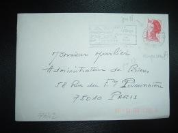 LETTRE TP LIBERTE DE GANDON 1,80 OBL.MEC. VARIETE 18-2-1983 JUVISY SUR ORGE ESSONNE (91) - Marcophilie (Lettres)