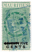 (I.B) Mauritius Revenue : Internal Revenue 5c On 75c OP - Mauricio (...-1967)
