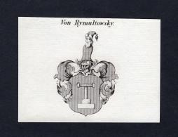 """Von Rymultowsky"" - Rymultowsky Wappen Adel Coat Of Arms Heraldry Heraldik Kupferstich Engraving - Estampes & Gravures"