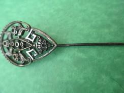 Bijou Fantaisie/Épingle à Chapeau/ Fleurs Et Angelot Stylisés/ Bronze Chromé/ Vers 1920-1940                  BIJ23 - Jewels & Clocks