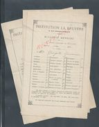 LOT DE 7 PARIS RUE HENNER 1920 ECOLE INSTITUTION LA BRUYERE BULLETIN MENSUEL : - Diplômes & Bulletins Scolaires