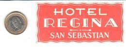 ETIQUETA DE HOTEL  -HOTEL REGINA   -SAN SEBASTIAN - Hotel Labels
