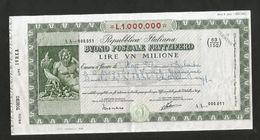 BUONO FRUTTIFERO POSTALE - 1 Milione Di Lire / 1.000.000 Lire - Emesso Nel 1983 - Repubblica Italiana - Banca & Assicurazione