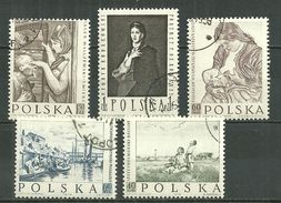 POLAND Oblitéré 967-971 Peintre CHELMONSKI WYSPIANSKI RODAKOKWSKI MALCZEWSKI GIERYNSKI Art - Oblitérés