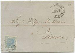 1868 EFFIGIE C. 20 TIRATURA (?) LETTERA LIVORNO 30.1.68 NUMERALE 14 A FIRENZE 31.1.68 OTTIMA  QUALITÀ (Z3) - 1861-78 Vittorio Emanuele II