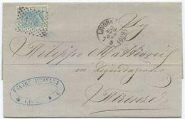 1868 EFFIGIE C. 20 TIRATURA (?) LETTERA LIVORNO PORTO 28.1.68 NUMERALE 178 A FIRENZE 29.1.68 OTTIMA QUALITÀ (Z6) - 1861-78 Vittorio Emanuele II