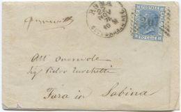 1874 EFFIGIE  C. 20 BUSTINA CON LETTERA  22.11.74 DA ROMA SUCC. 1  NUMERALE  207 (Z10) - 1861-78 Vittorio Emanuele II