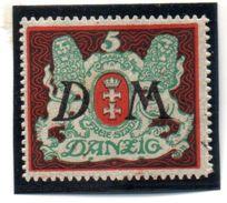 """Freie Stadt Danzig, Mi. 21Y Dienstmarke: Freimarken 1922 """"Großes Staatswappen """" ** Postfrisch - Danzig"""