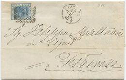 1874 EFFIGIE  C. 20  LETTERA LIVORNO PORTO 28.7.74 NUMERALE 14 A FIRENZE 29.7.74 OTTIMA QUALITÀ (Z14) - 1861-78 Vittorio Emanuele II