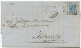 1872 EFFIGIE  C. 20  LETTERA EMPOLI  5.1.72 NUMERALE 74 A FIRENZE 6.1.72 OTTIMA QUALITÀ (Z18) - 1861-78 Vittorio Emanuele II