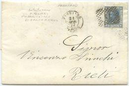 1877 EFFIGIE C. 20 LETTERA INTESTATA CARTIERA  P. MILIANI  FABRIANO 21.4.77 NUMERALE  75 A RIETI 22 .4.77 OTTIMA QUALITA - 1861-78 Vittorio Emanuele II