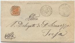 1879 EFFIGIE C. 20 PIEGO COMPLETO 14.7.79 PORTO S. GIORGIO (ASCOLI)  NUMERALE SBARRE A TREIA 15.7.79 ECCELLENTE (Z24) - 1861-78 Vittorio Emanuele II