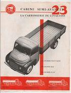 RECTO VERSO DE LA CARROSSERIE DE LEVALLOIS  SUR CAMION CITROEN - Advertising