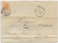 1879 EFFIGIE C. 20 BUSTA 7.4.79 UDINE NUMERALE SBARRE A OFFIDA TRANSITO ANCONA (Z28) - Storia Postale