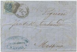 1868 EFFIGIE C. 20 ISOLATO LETTERA DITTA TRASPORTI X AMERICA DA NAPOLI SUCC. PORTO ANNULLO NUMERALE 19.11.68 (5390) - 1861-78 Vittorio Emanuele II
