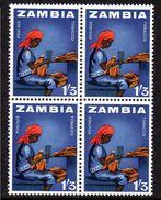 ZAMBIA, 1964  1/3d TOBACCO INDUSTRY BLOCK 4 MNH - Zambia (1965-...)