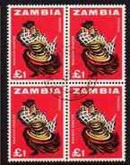 ZAMBIA, 1964  £1 DANCER BLOCK 4 CTO - Zambia (1965-...)