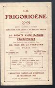 Paris : Dépliant FRIGORIGENE  (v 1922)  (PPP5435) - Pubblicitari