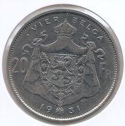 ALBERT I * 20 Frank / 4 Belga 1931 Vlaams  Pos B * Prachtig * Nr 9456 - 1909-1934: Albert I