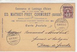 """Cormoret - Ed.Mathey-Frey - Laminage - Oblit.""""Chaux-de-Fonds - Sonceboz"""" 1899    (P-57-50911) - JU Jura"""
