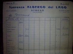Facture A Entete Italie Hotel   Speranza Albergo Del Lago A Stresa Avec Fiscal Annee 1954 - Italie