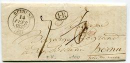 PAS DE CALAIS De BETHUNE LAC Du 14/02/1837 Pour La BELGIQUE Avec Dateur T 13 + Cachet 1 Ier Rayon Taxe De 6 Rectifiée 7 - Marcophilie (Lettres)