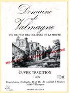 Etiquette De Vin De L'Hérault,  Domaine De Valmagne, Millésime 1988. Abbaye De Valmagne. - Rode Wijn