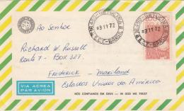Brazil Aerogram 1972 Brazil To USA Franked With Scott #1244 - Brésil