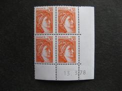 TB Bloc De 4 Coin Daté:  13.03.1978 Du N° 1968, Neuf XX . - Coins Datés