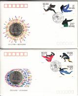 China FDC 1990 Scott #2295-#2300 Set Of 2 Olympics With Coins - 1949 - ... République Populaire