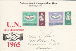 Falkland Islands FDC 1965 Scott #156-#157 Set Of 2 International Cooperation Year - Falkland