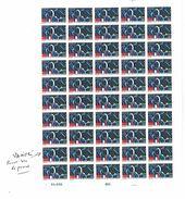 Feuille Complète  Neuve De 50 Timbres Vol Franco Sovietique CNES  Glavcosmos Intercosmos ' Anomalie Au Pouce ' Très Rare - Fogli Completi